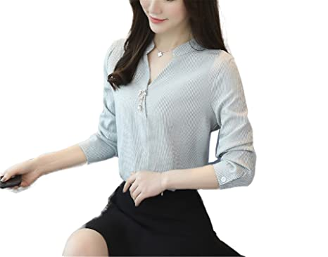OUXIANGJU New Women Chiffon Blouse Spring Office Shirts V-Neck Long Sleeve Ladies Striped Tops