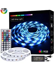 LED Strip Lights 32.8FT/10M 300 LEDs SMD5050 Non-Waterproof RGB Strip Lights Full Kit, LED Rope Lights Color Changing Flexible Tape Light Kit with 44 Keys RF Remote Controller & 12V 5A Power Supply