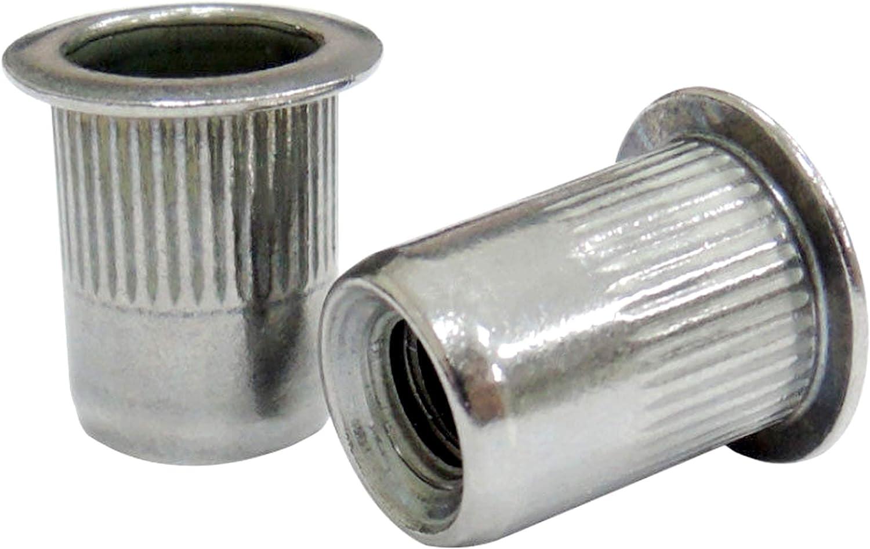 """Qty 10 1//4/"""" UNC Flange Nutserts Zinc Plated Steel Rivet Nut  Rivnut Nutsert"""