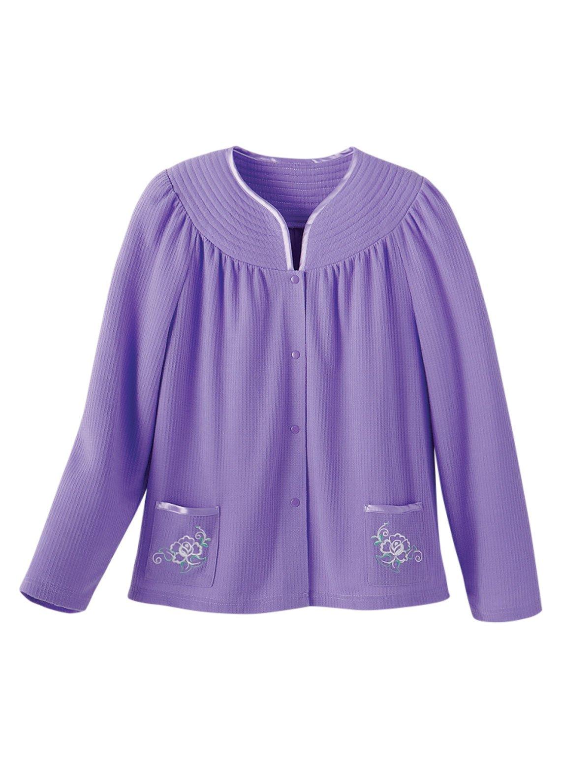 Carol Wright Gifts Waffle Bed Jacket, Color Lilac, Size Medium, Lilac, Size Medium
