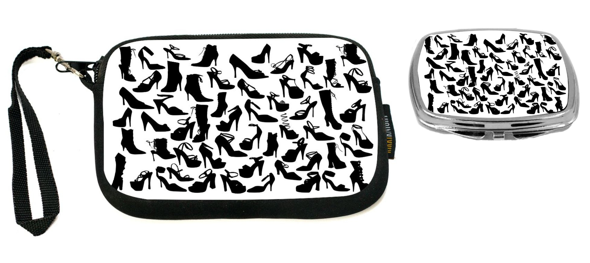 Rikki Knight Silhouette Fashion Shoes Design Neoprene Clutch Wristlet with Matching Square Compact Mirror