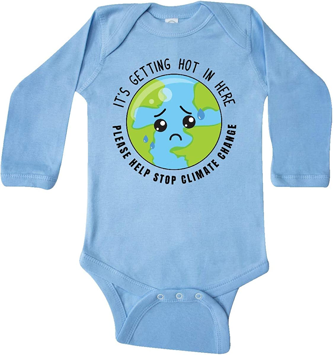 inktastic Climate Change Its Getting Hot in Here Sad Planet Long Sleeve Creeper