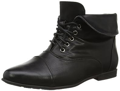 9794e6606 Ajvani Womens Ladies Low Heel Flat lace up Vintage Pixie Ankle Boots Size 3  36 Black