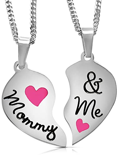 'MOMMY and ME' Split Pink Heart Necklaces | Mother Daughter Necklace Set for 2 | Mother's Day Jewelry Gifts for Mom From Little Girl Daughter (Pink)