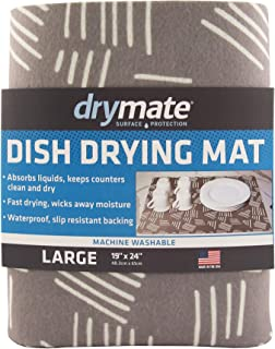 """product image for Drymate Dish Drying Mat, Premium XL Size (19"""" x 24""""), Kitchen Dish Drying Pad – Absorbent/Waterproof – Machine Washable (Made in the USA) (Modern Brush Strokes)"""