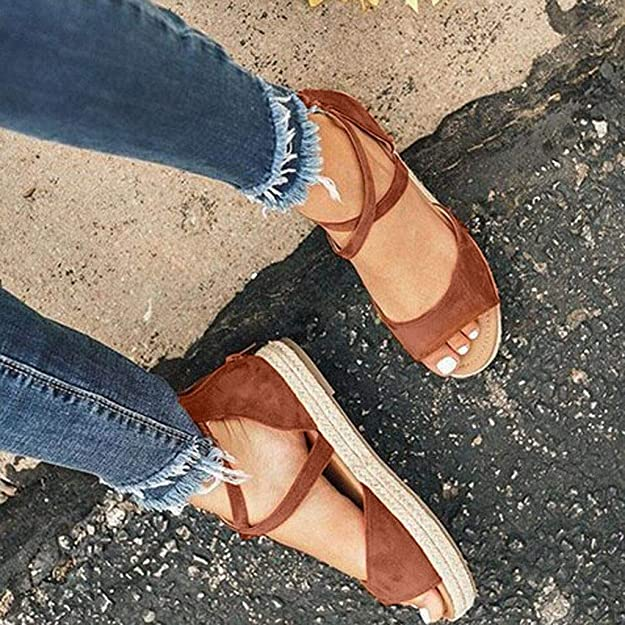 Amazon.com | OrchidAmor New Womens Platform Peep Toe Woven Zipper Flat Thick-Bottom Sandals Roman Shoes | Flats