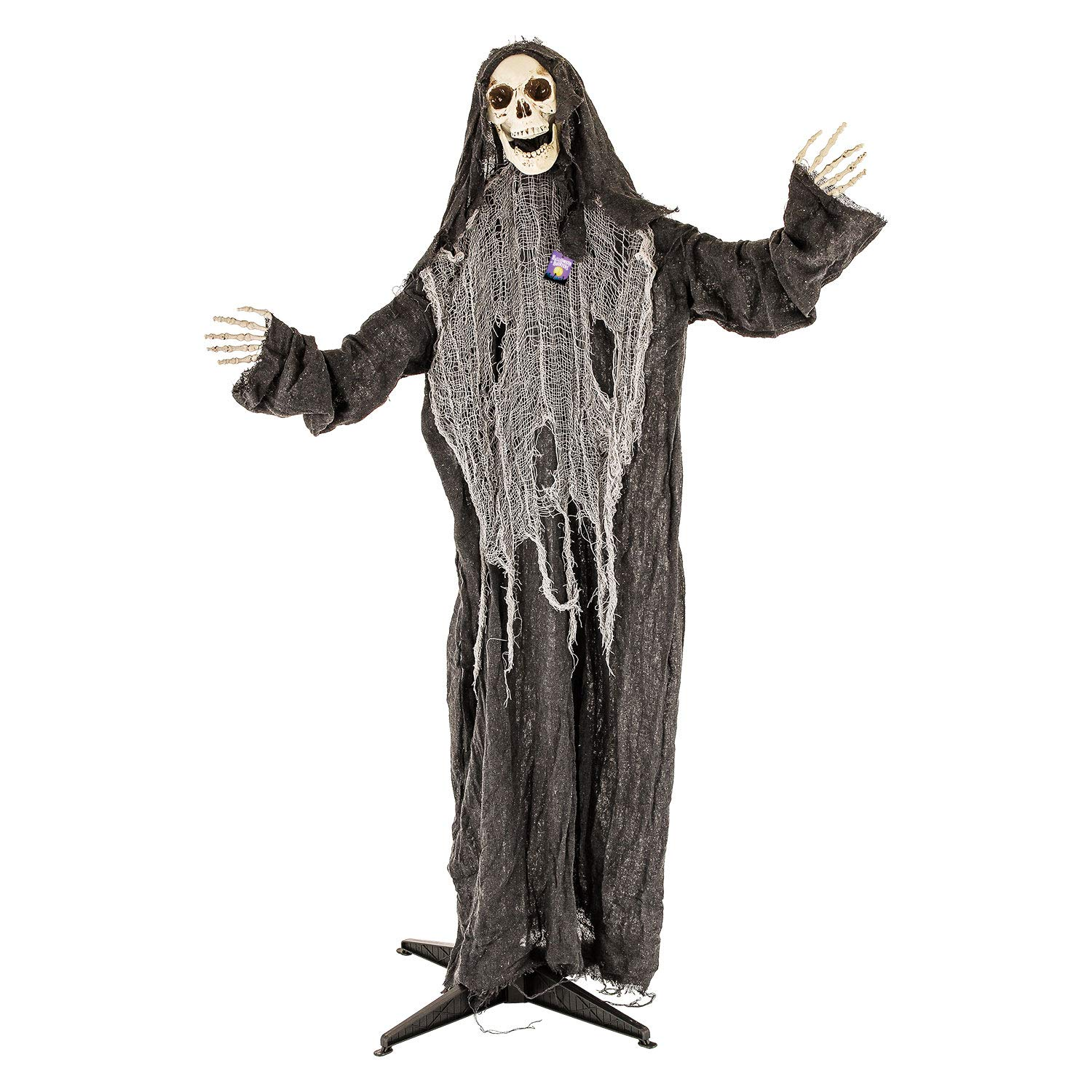 Halloween Haunters Animated Standing Life Size Skeleton Reaper Evil Red Eyes Light up Prop Decoration - Death Screams - Battery Operated