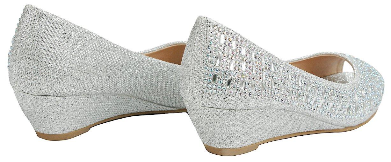 Women Fisher Silver Open Toe Sparkle Glitter Rhinestone Formal Comfort Mid Wedge Heel Dress Pumps-6 by JJF Shoes (Image #4)