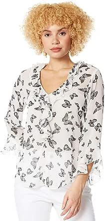 Roman Originals - Blusa de mujer con volantes y mariposas – Blusa de mujer ligera, mangas con volantes, muselina, primavera, verano, estilo informal, día y noche