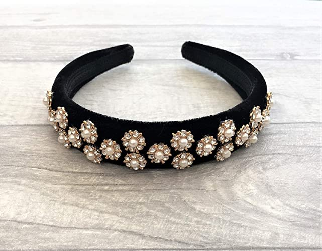 4df5b7bca9 Stunning Black Velvet Jewelled Alice Band Headband Hair band with Round  Faux Pearl and Diamante in Rose Gold Tone