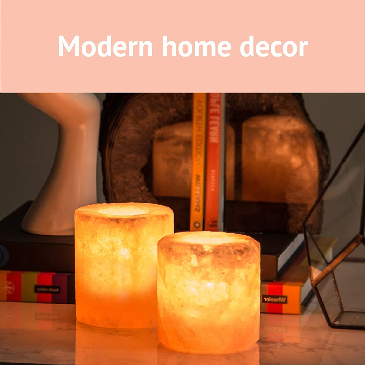 Crystal Allies Pack of 2 Natural Pink Himalayan Salt Tea Light Candle Holders with Authentic Crystal Allies Info Card