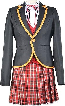 Teens Girls School Uniform Cosplay Costume Black Red Plaid Skirt Tops Coat Sets