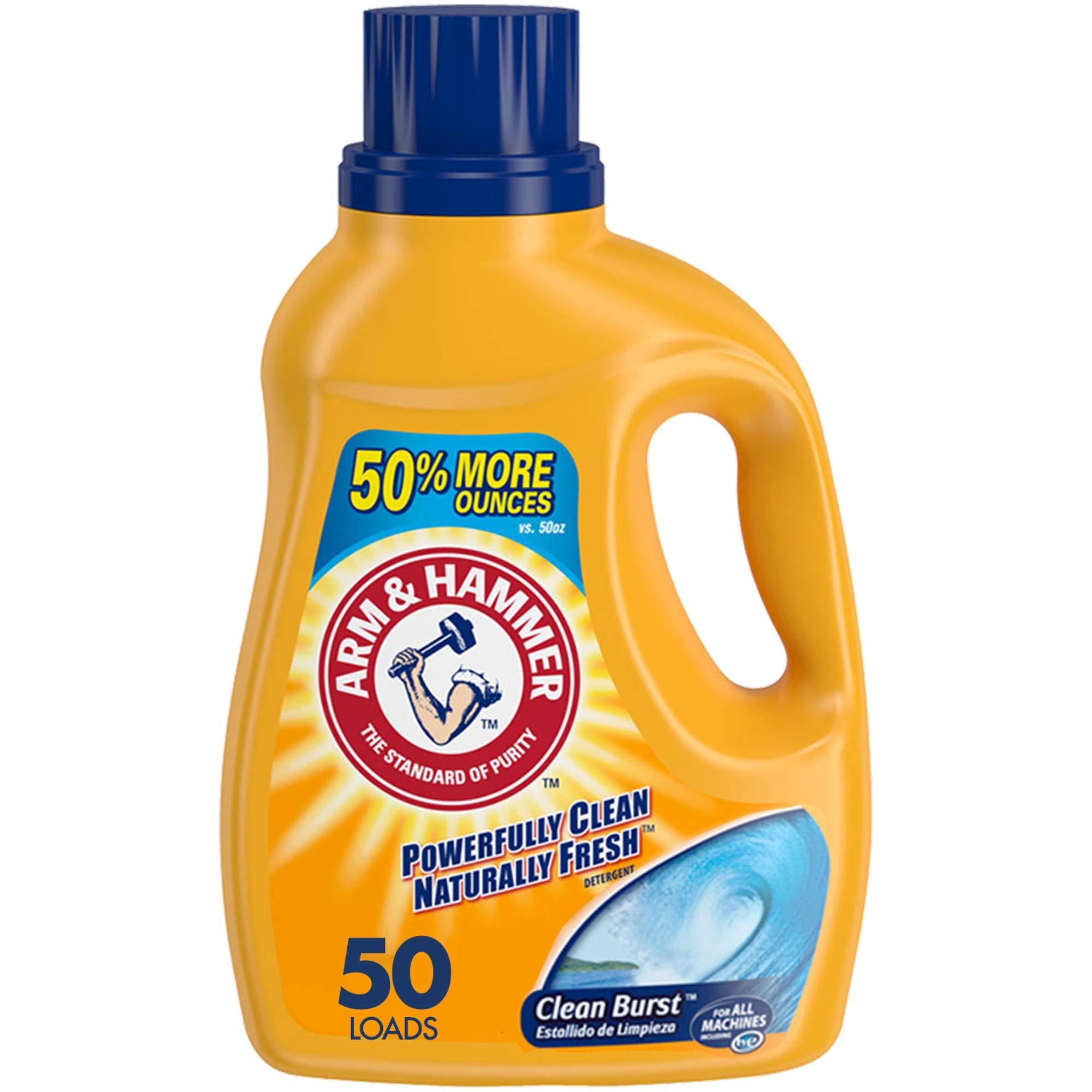 Arm & Hammer Clean Burst Liquid Laundry Detergent, 50 Loads