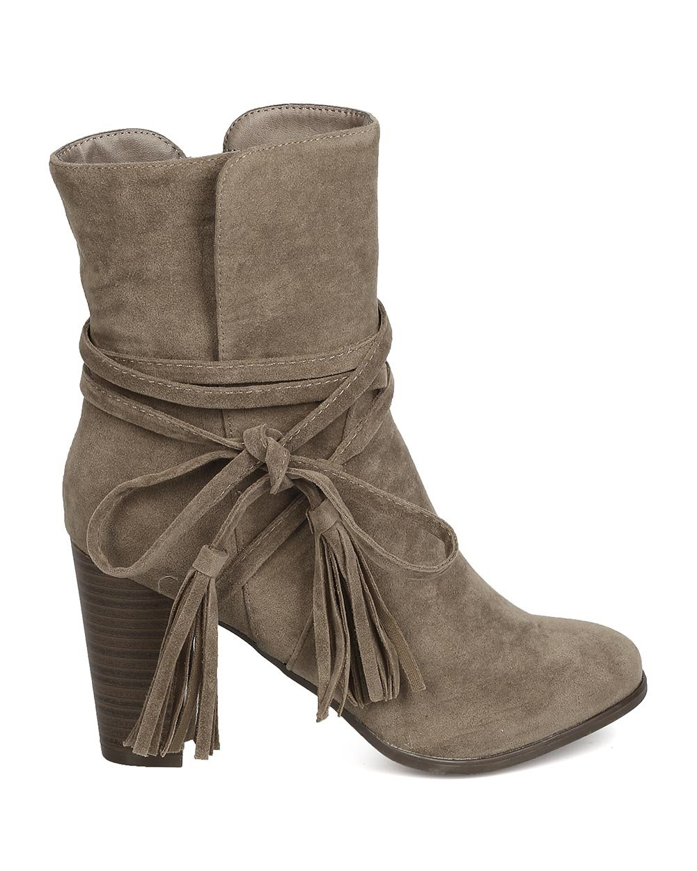 Breckelle's GA27 Women Faux Suede Wraparound Tassel Chunky Heel Bootie - Beige (Size: 7.0) by Breckelle's (Image #2)