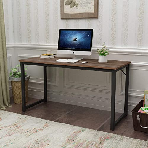 sogesfurniture Computer Desk 55.1 inches Sturdy Office Desk Meeting Desk Training Desk Writing Desk Workstation Desk Gaming Desk,Walnut BHUS-GCP2JJ-140BW