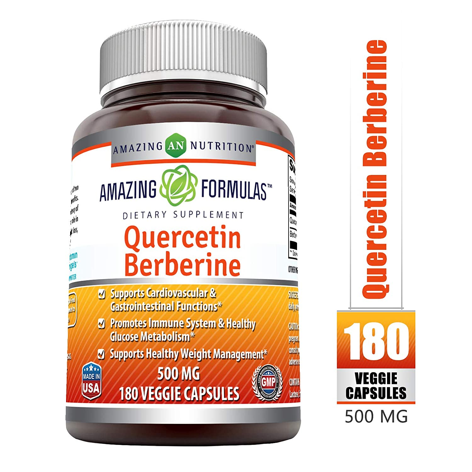 Amazing Formulas Quercetin Berberine – 250 mg of Berberine and 250 mg Quercetin in Each Veggie Capsule. Non-GMO Potent Anti-oxidant Properties. Supports Heart Health, Energy Production* 180 Count