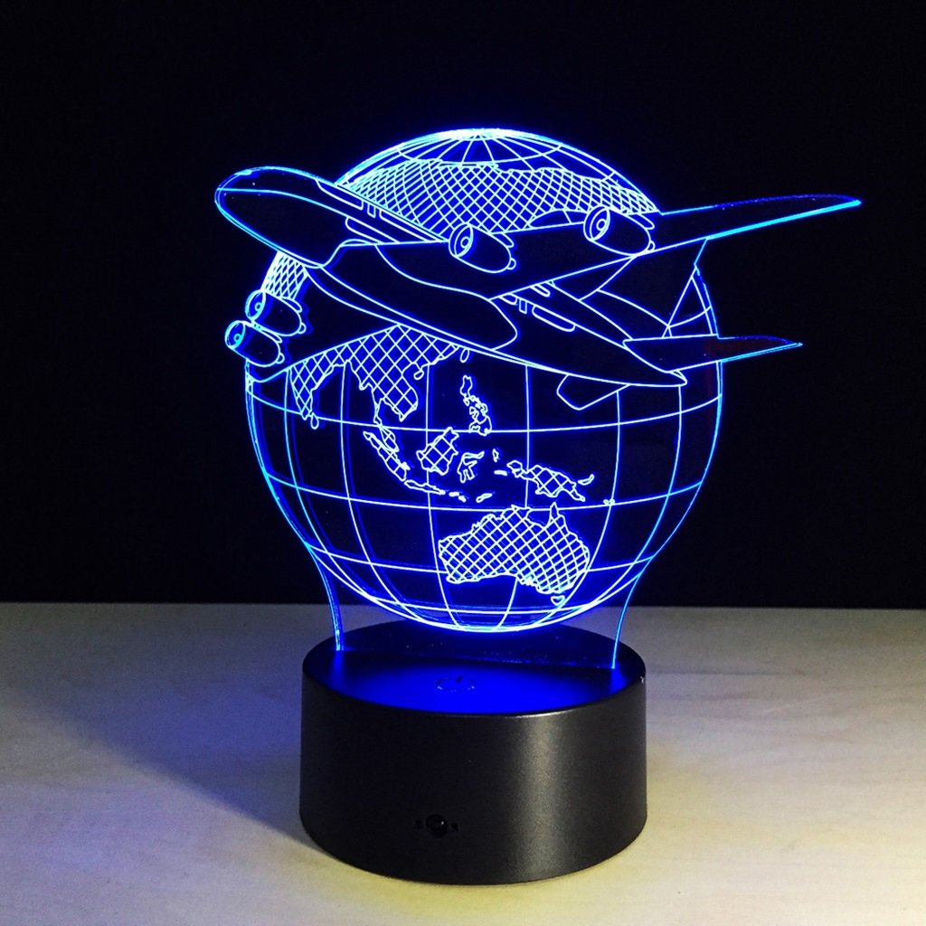WBYD 3D Night Light Visualization Glow 7 Color Change USB Touch Button and Intelligent Remote Control Desk Table Lighting Nice Gift Home Office Decorations Toys  (Earth)