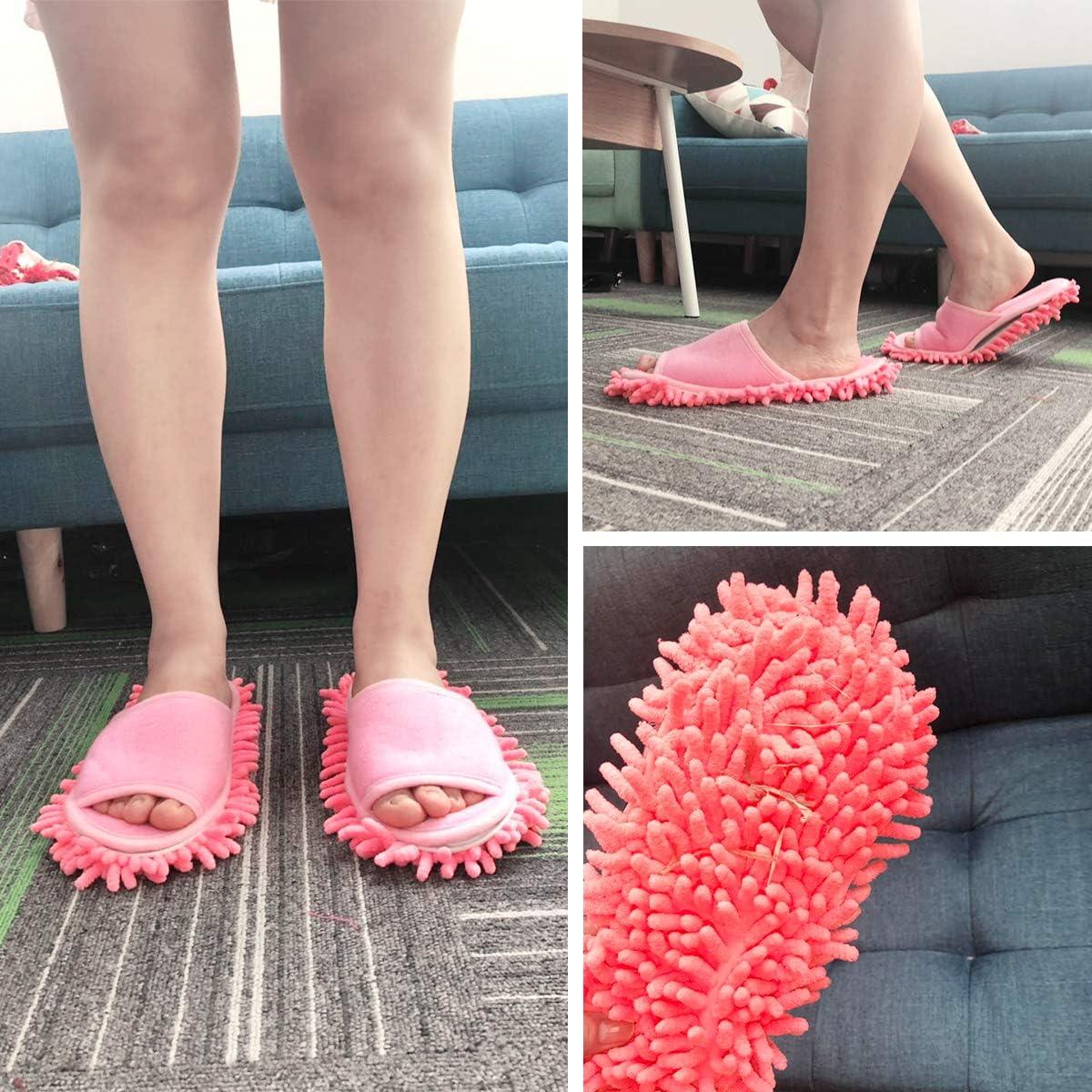 rose rouge, pour hommes et femmes Xunlong Chaussons de nettoyage de sol chaussons de d/époussi/érage unisexes Rouge