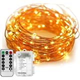 Fairy Lights Battery Operated YIHONG 8 Modes String Lights 39FT Copper Wire 120 LED Starry Lights Firefly Lights Remote Control with Timer for Wedding Halloween Christmas Party Decor (Warm White)