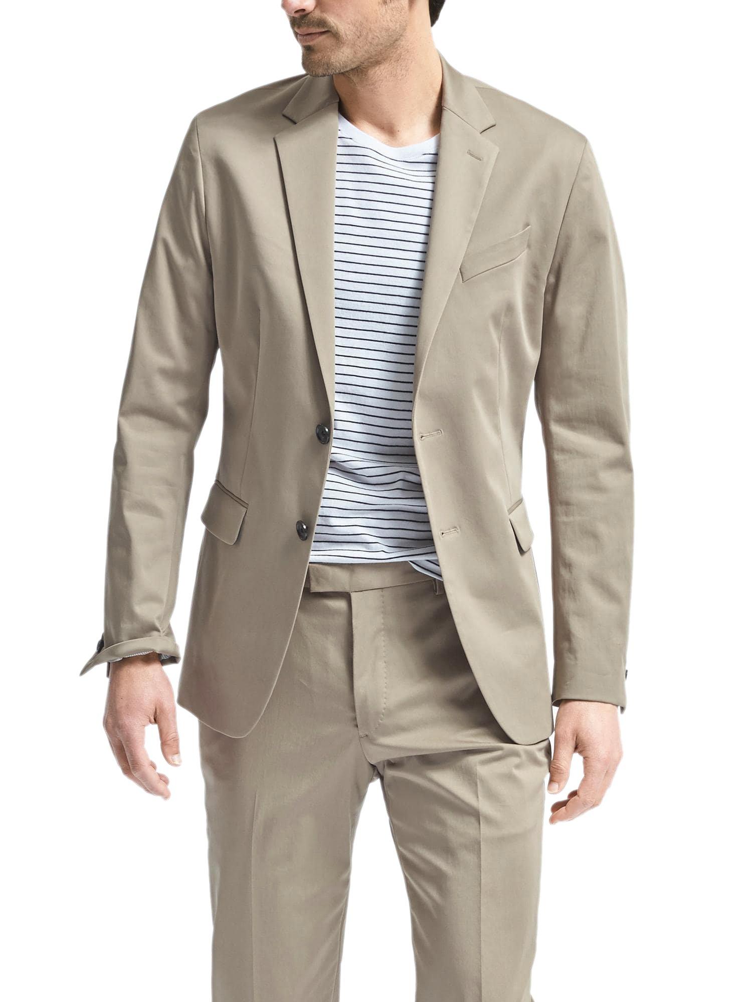 Banana Republic Men's Slim Fit Stretch Cotton Two Button Blazer Jacker Acorn 42R Regular
