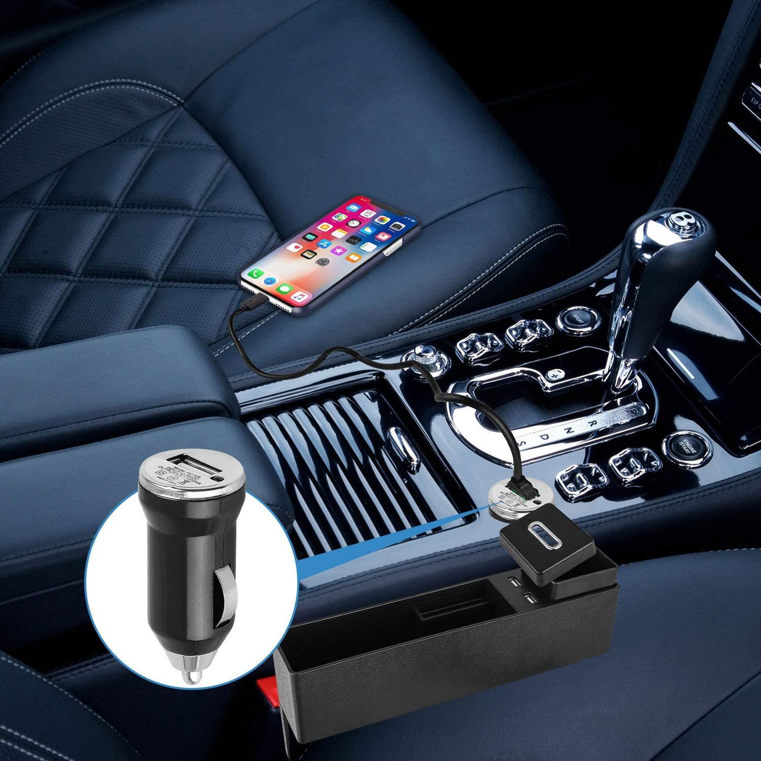 with Coin Box Console Side Pocket Seat Crevice Storage Seat Gap Pocket Organizer Multifunctional Car Seat Organizer Front Seat Gap Filler 2 USB Charging Ports Automotive Interior Accessories-Black