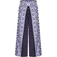 Guangxin Women's Ethnic Style High Waist Printed Loose Yoga Wide Leg Pants