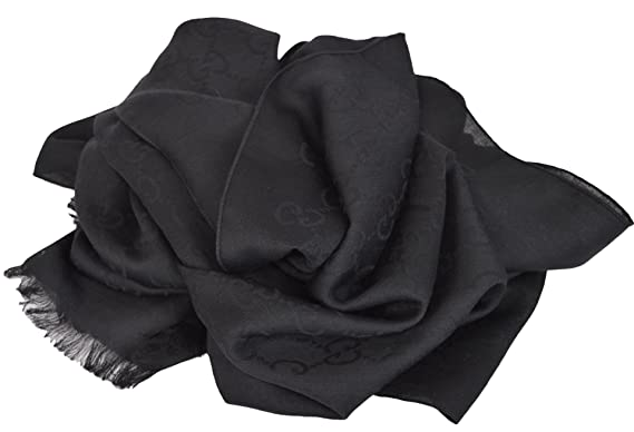 fa52451dddb Gucci Women s Wool Silk GG Guccussima Black Scarf  Amazon.co.uk ...