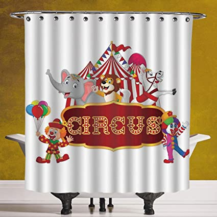 SCOCICI Funky Shower Curtain 30 Circus DecorCute Happy Fun Trained Animals With