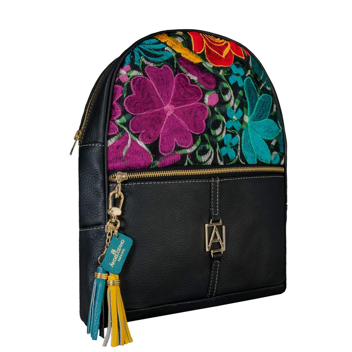 Amazon.com: Black Chiapas model leather Bag with Artisan Embroidery. Original AngeLozano Brand. 10.24 x 3.94 x 13.39 inches: Handmade