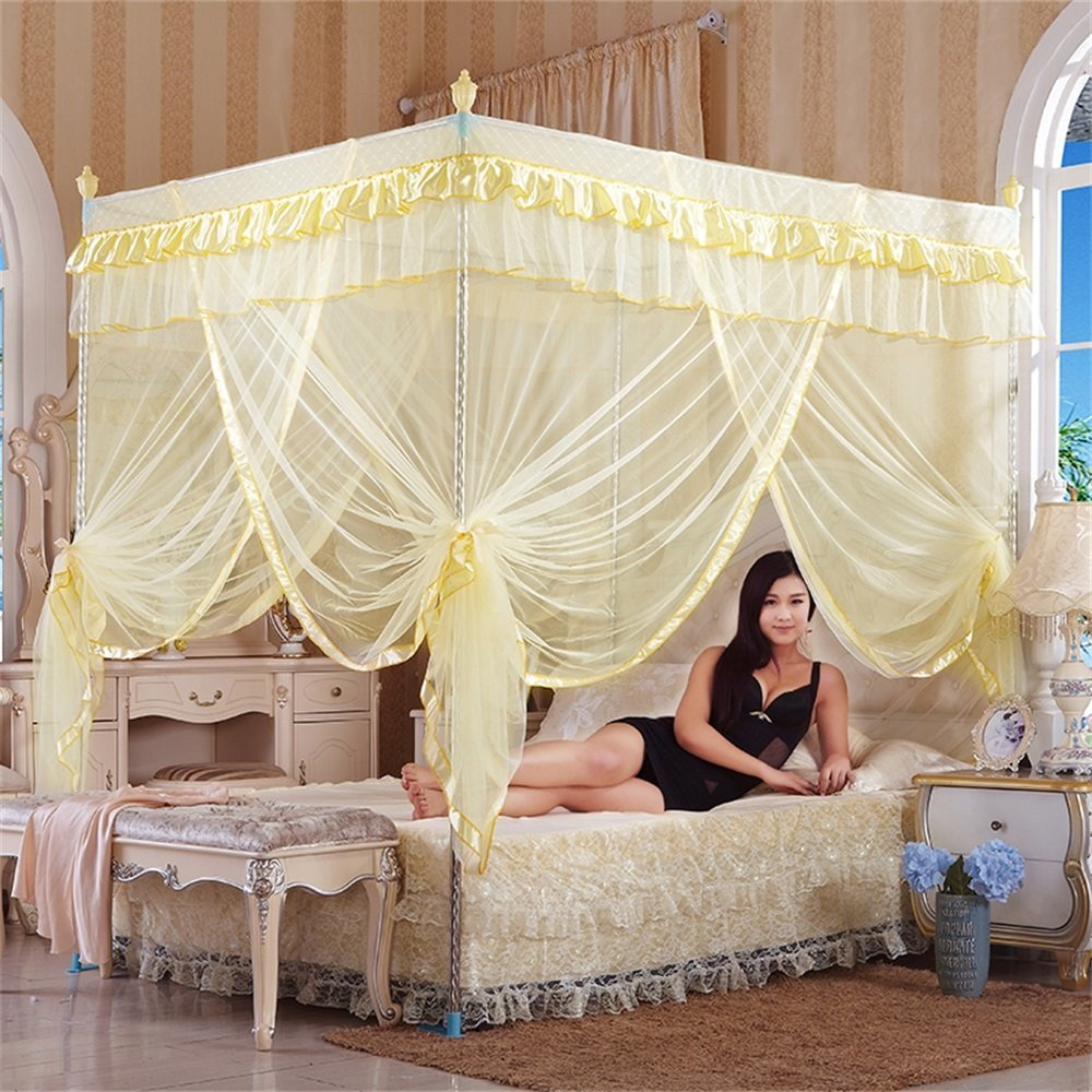Royal- European Style Square Top Mosquito Net Three-door Encryption Thickening Single Double Bed Stainless Steel Bracket Beige ( Color : 32mm , Size : 1.82.2m bed )