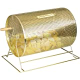 Displays2go Brass Raffle Drum With Wooden Turning Handle for Tabletop Use (RDRMBR2115)