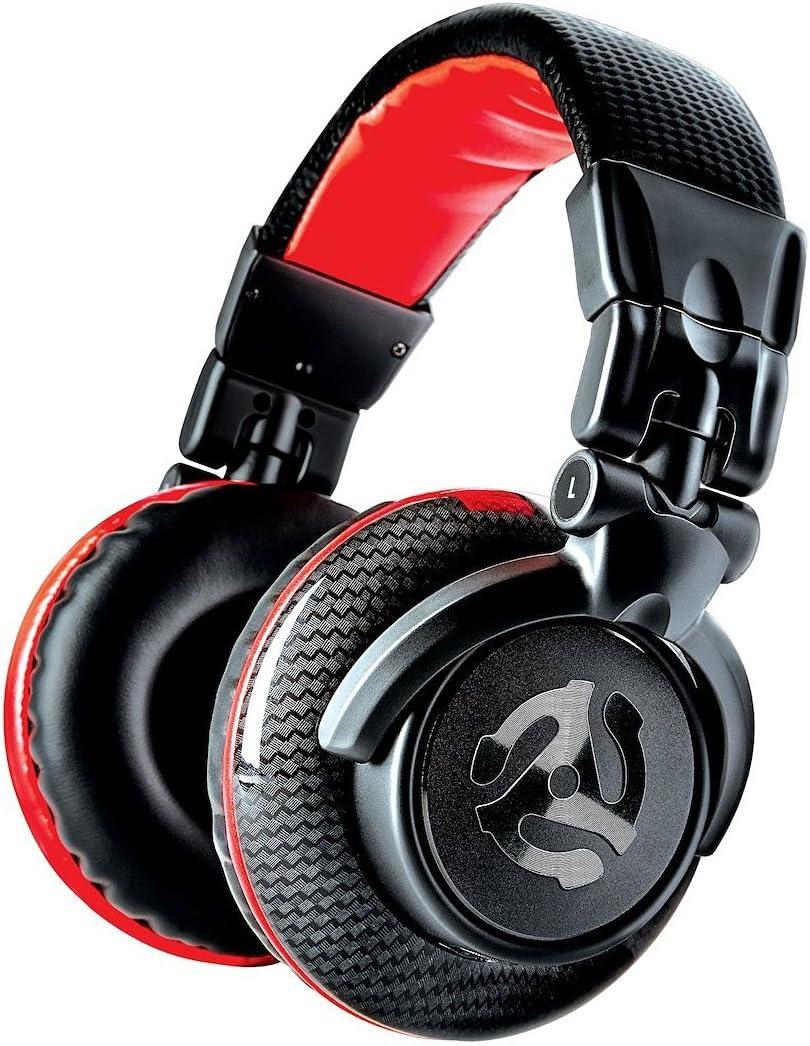 Numark Red Wave Carbon - Auriculares de DJ Ligeros de Alta Calidad y Rango Completo con Diseño Basculante, Transductores de 50 mm, Cable Desmontable, Adaptador de 3,5 mm y Funda Incluidos