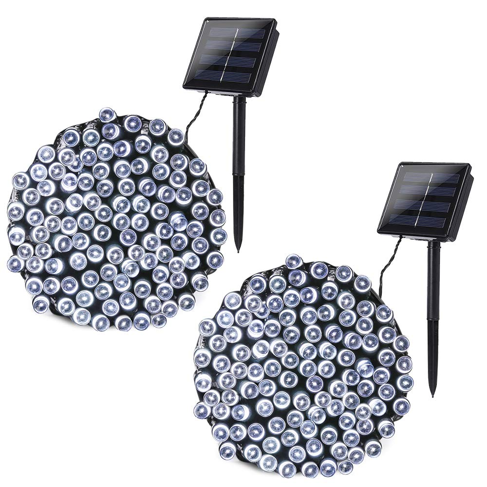 Joomer 2 Pack Solar String Lights 72ft 200 LED 8 Modes Solar Powered Christmas Lights Waterproof Decorative Fairy String Lights for Garden, Patio, Home, Wedding, Party, Christmas(White)