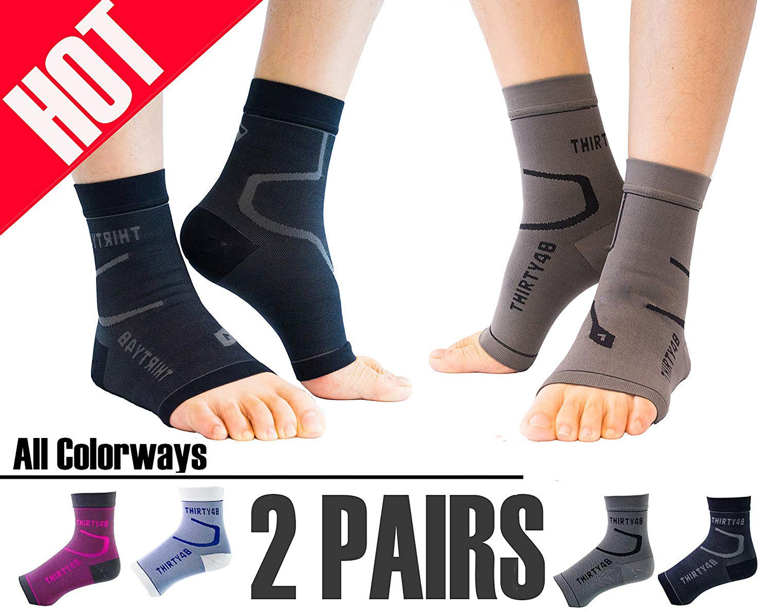 Thirty48 Plantar Fasciitis Socks, 20-30 mmHg Foot Compression Sleeves for Ankle/Heel Support, Increase Blood Circulation, Relieve Arch Pain, Reduce Foot Swelling (Black & Grey (2 Pairs), X-Large) by Thirty48