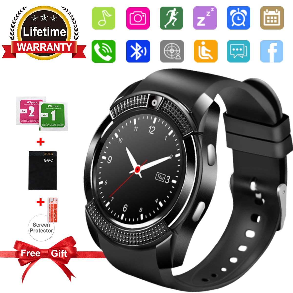 Smart Watch,Bluetooth SmartWatch with Camera Touchscreen,Smart Watches Waterproof Unlocked Phones Watch with SIM Card Slot,SmartWatches Compatible ...