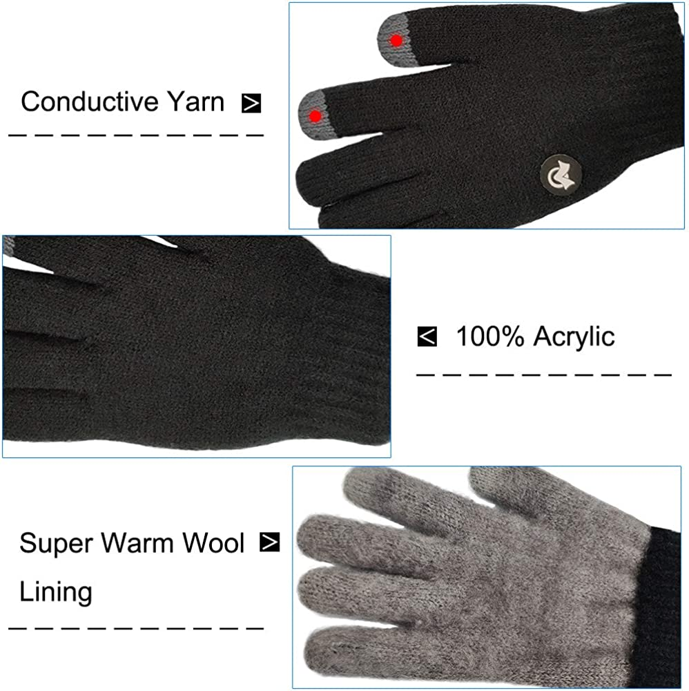 LETHMIK Kids Touchscreen Knit Gloves, Winter Solid Black Children Warm Thick Fleece Lining Gloves: Clothing