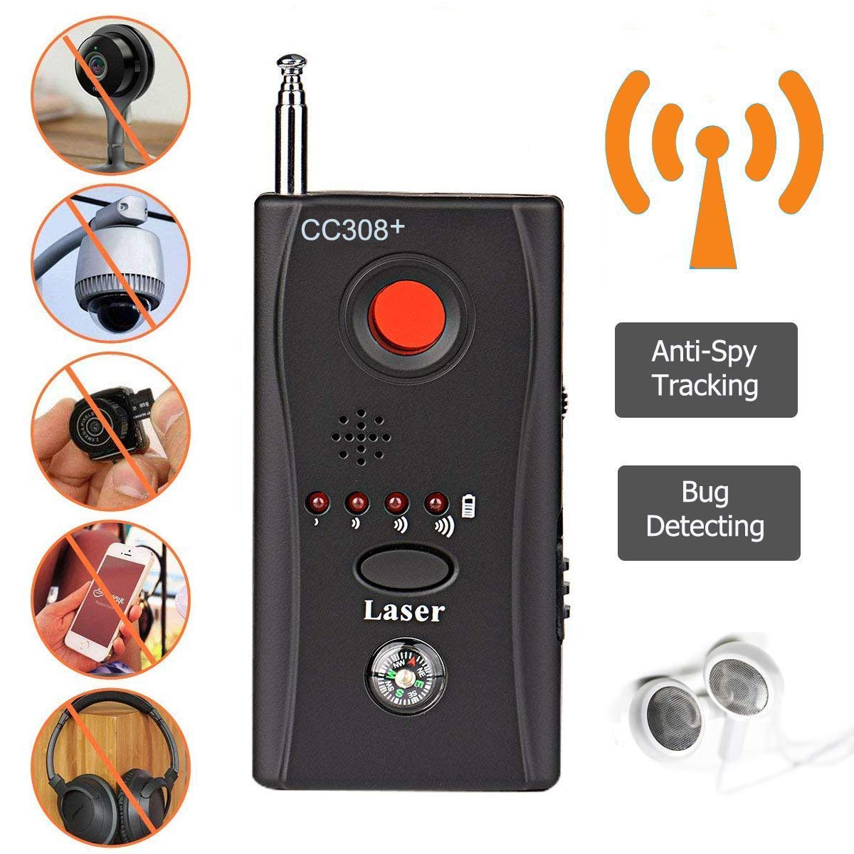 cc308-2 Hangang Rf-Detektor-Wanzen-Detektor Anti-Spionage-Signal-Detektor Allm/ächtige versteckte Kamera-Laser-Linse Gsm-Ger/ät-Finder