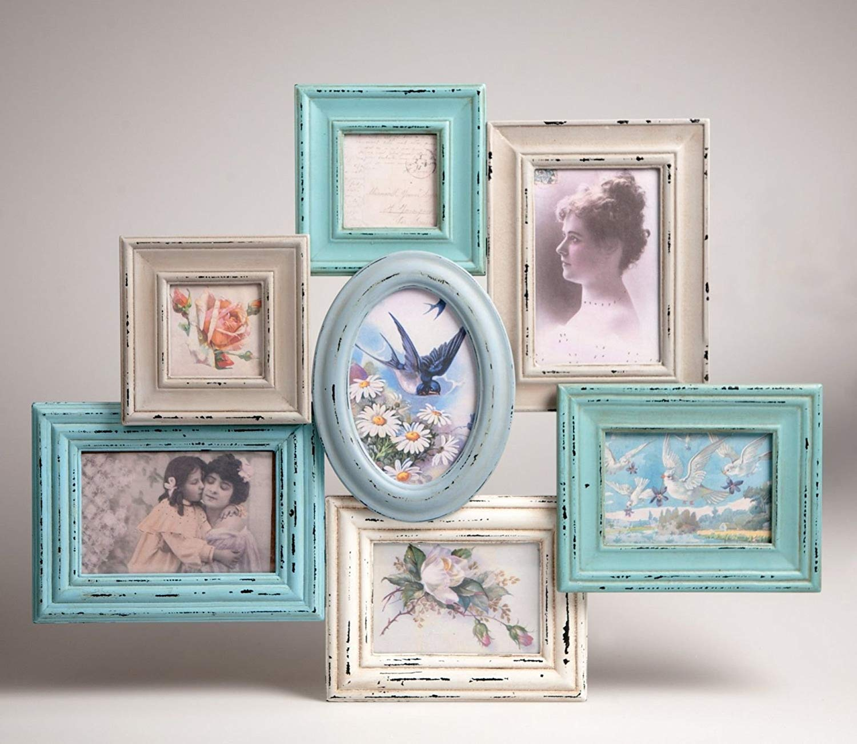 Amazon.de: Bilderrahmen Gruppe Blau Vintage Shabby Chic Wandbefestigung