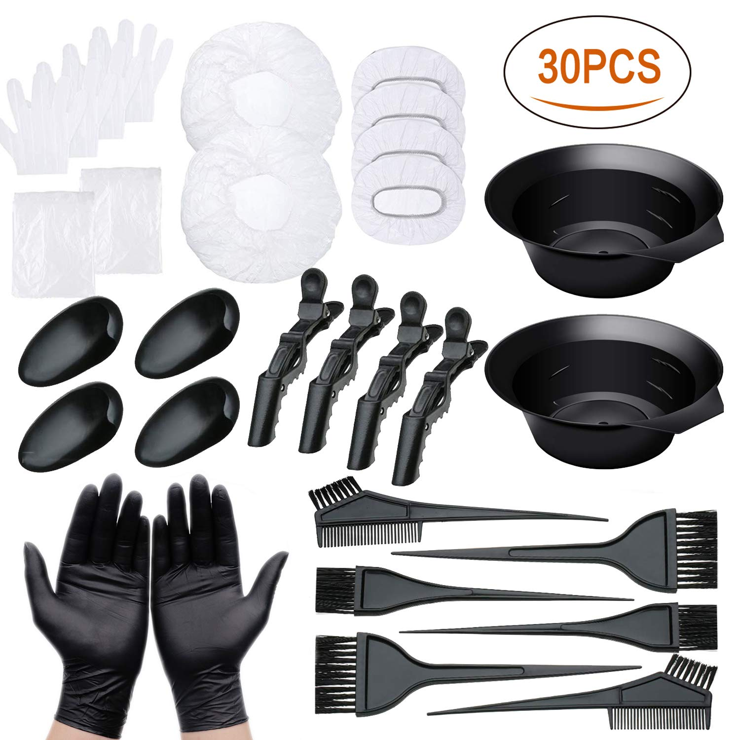 30 PCS Hair Dye Color Kit, Hair Tinting Bowl, Dye Brush, Ear Cover, Cape, Disposable Gloves for Salon Hair Dye Home Use Coloring DIY Bleaching Hair Dryers by Tabiger