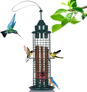 skonhed Caged Tube Bird Feeder, Metal Cage Polycarbonate Hanging Feed Tube with 4 Feeding Ports for Outdoor Small Bird Wild Shelter, 600ml Bird Food Capacity, 15.4 inch