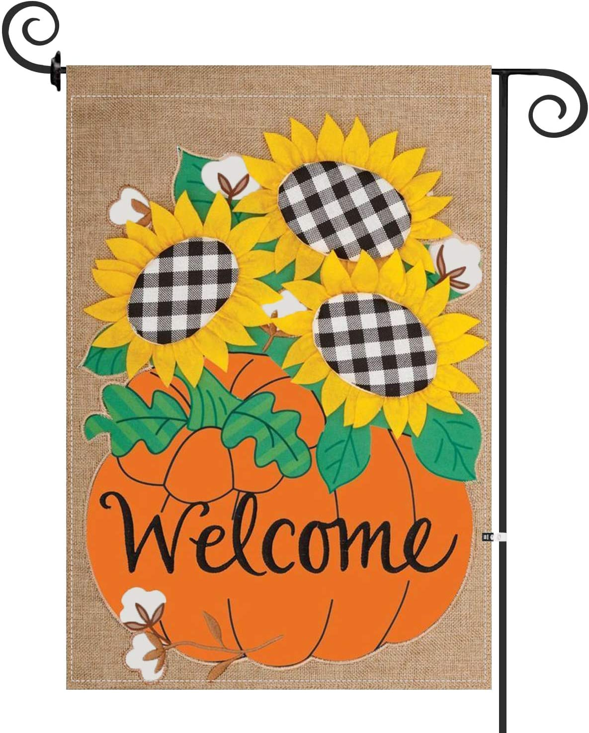 Fall Garden Flag Welcome Fall Flag Double Sided Autumn Garden Flag Pumpkin Garden Flags 12 x 18 Inch for Thanksgiving Outdoor Decorations Burlap Yard Banner Harvest Rustic Lawn Decor