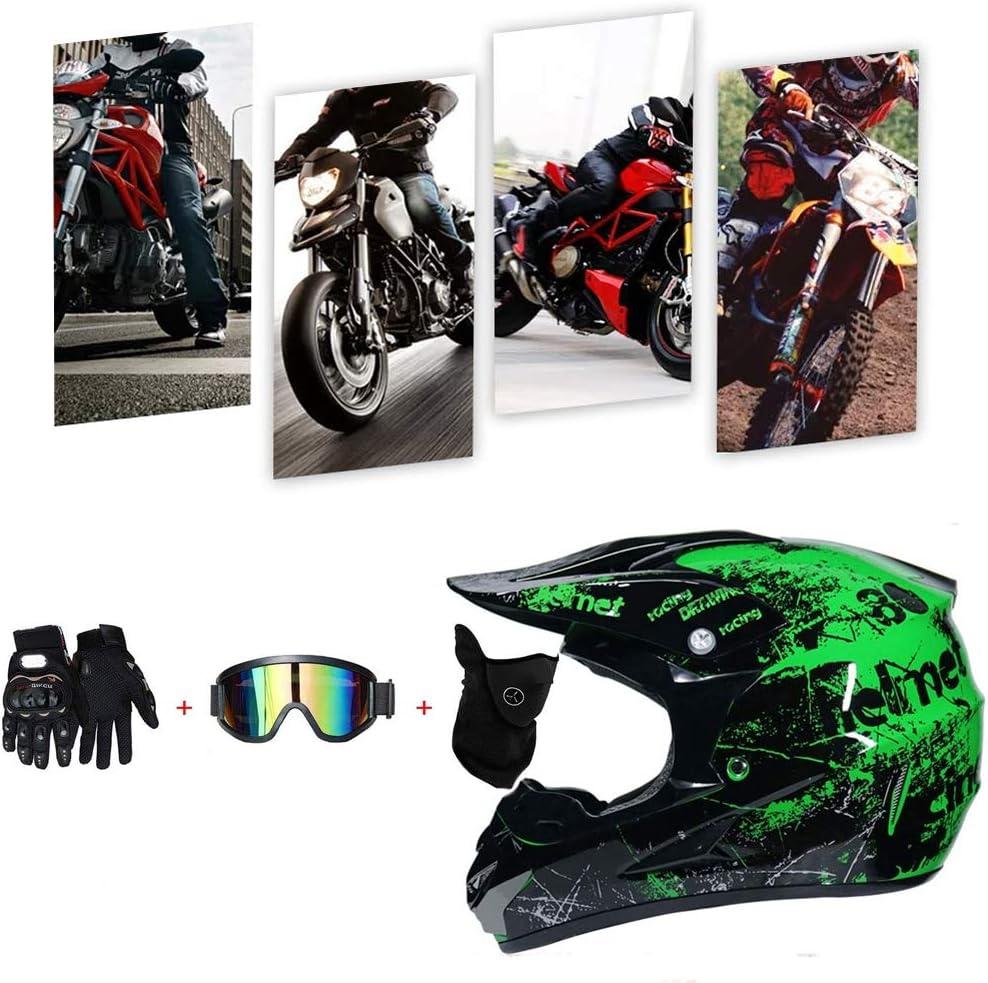 Set Damen Fullface Motorrad DH Cross Offroad Enduro Mountainbike Helme mit Visier Brille Handschuhe Maske TKUI Mopedhelm Motocross Helm Herren Integralhelm Sonnenschutzhelm