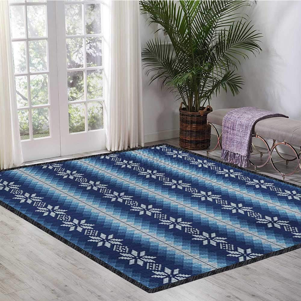 Winter, Area Rug Bedroom, Traditional Scandinavian Needlework Inspired Pattern Jacquard Flakes Knitting Theme, Door Mat Increase 5x7 Ft Blue White by lacencn (Image #2)