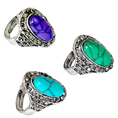 men rings fashion stone sapphire big style for blue