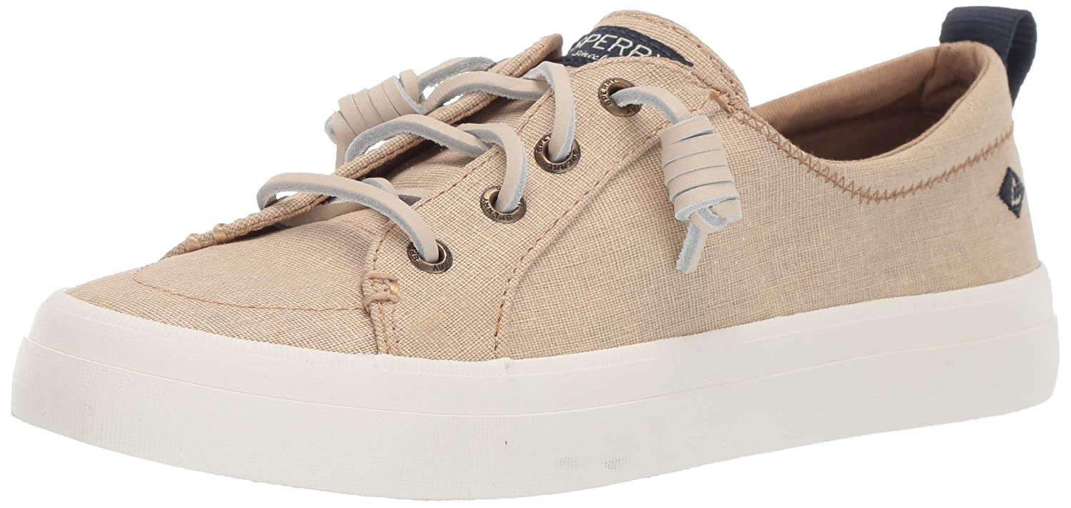 Linen Sperry Womens Crest Vibe Washed Linen Fashion Sneakers
