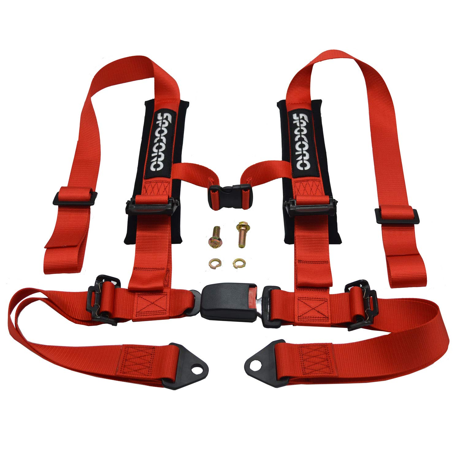 Spocoro RH-0204RD-BK-1 4 Point Racing Safety Harness with Ultra Soft Shoulder Pads Buckle with 2''Straps, Red(Pack of 1)