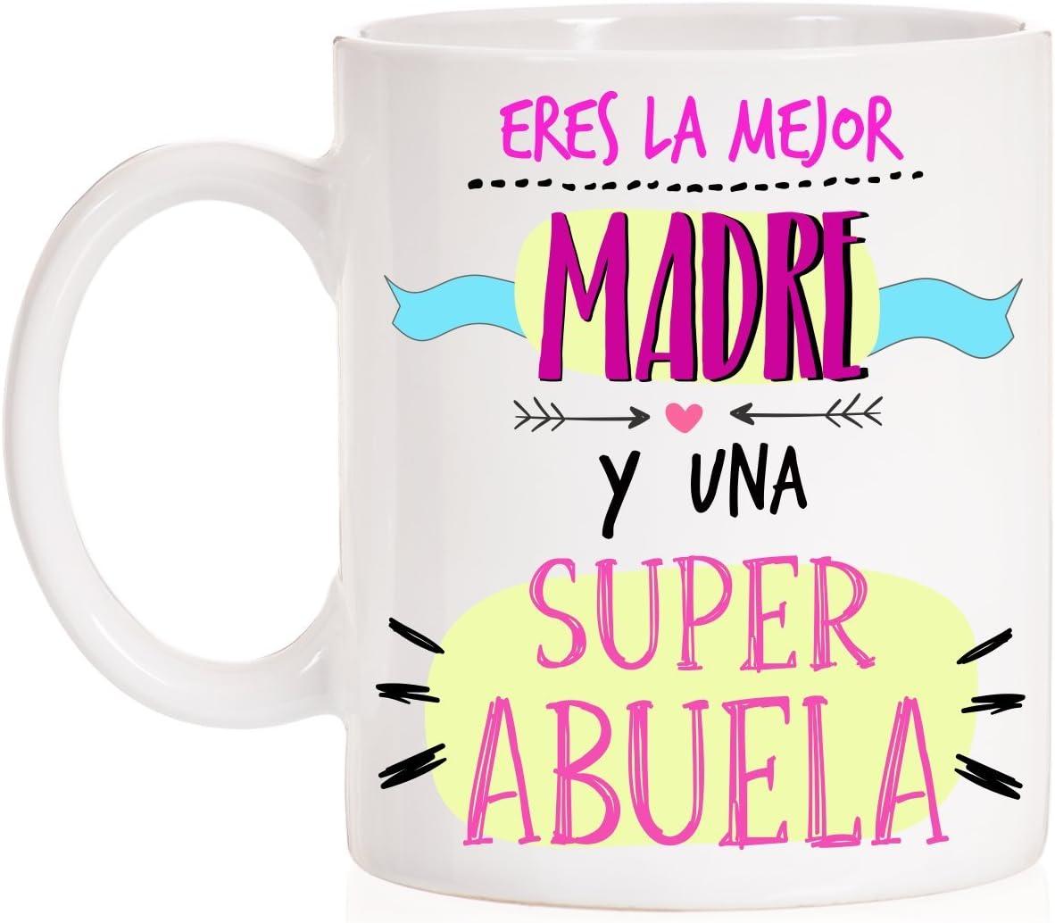 Taza Eres la Mejor Madre y una superabuela. Taza Regalo para Madres Que Son Abuela. Super Abuela. Taza día de la Madre.