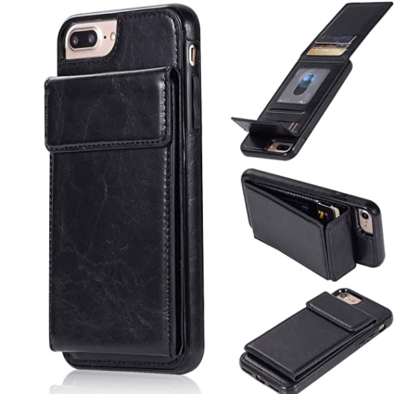 brand new f2735 1b354 Bangcool iPhone 8 Plus Wallet Case iPhone 7 Plus Wallet Case Black Wallet  Credit Card Holder Slim Shockproof Flip Case Cover Compatible with iPhone 7  ...