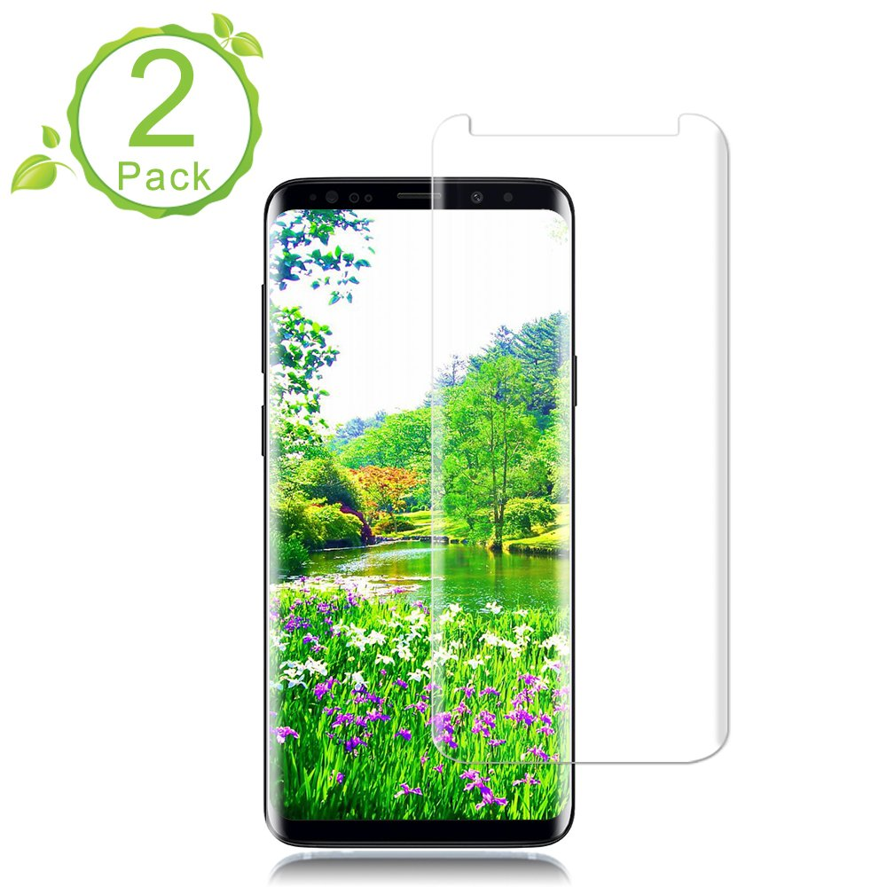 [2 Pack]Galaxy S9 Plus Screen Protector [9H Hardness][Anti-Scratch] [Anti-fingerprint][3D Curved] [High Definition] [Ultra Clear] Tempered StinkLight Glass Screen Protector for Samsung Galaxy S9 Plus