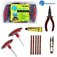 TIREWELL TW-5002 6 in 1 Universal Tubeless Tire Puncture Kit Emergency Flat Tyre Puncher Repair Patch Tool Box for Car Bike SUV and Motorcycle